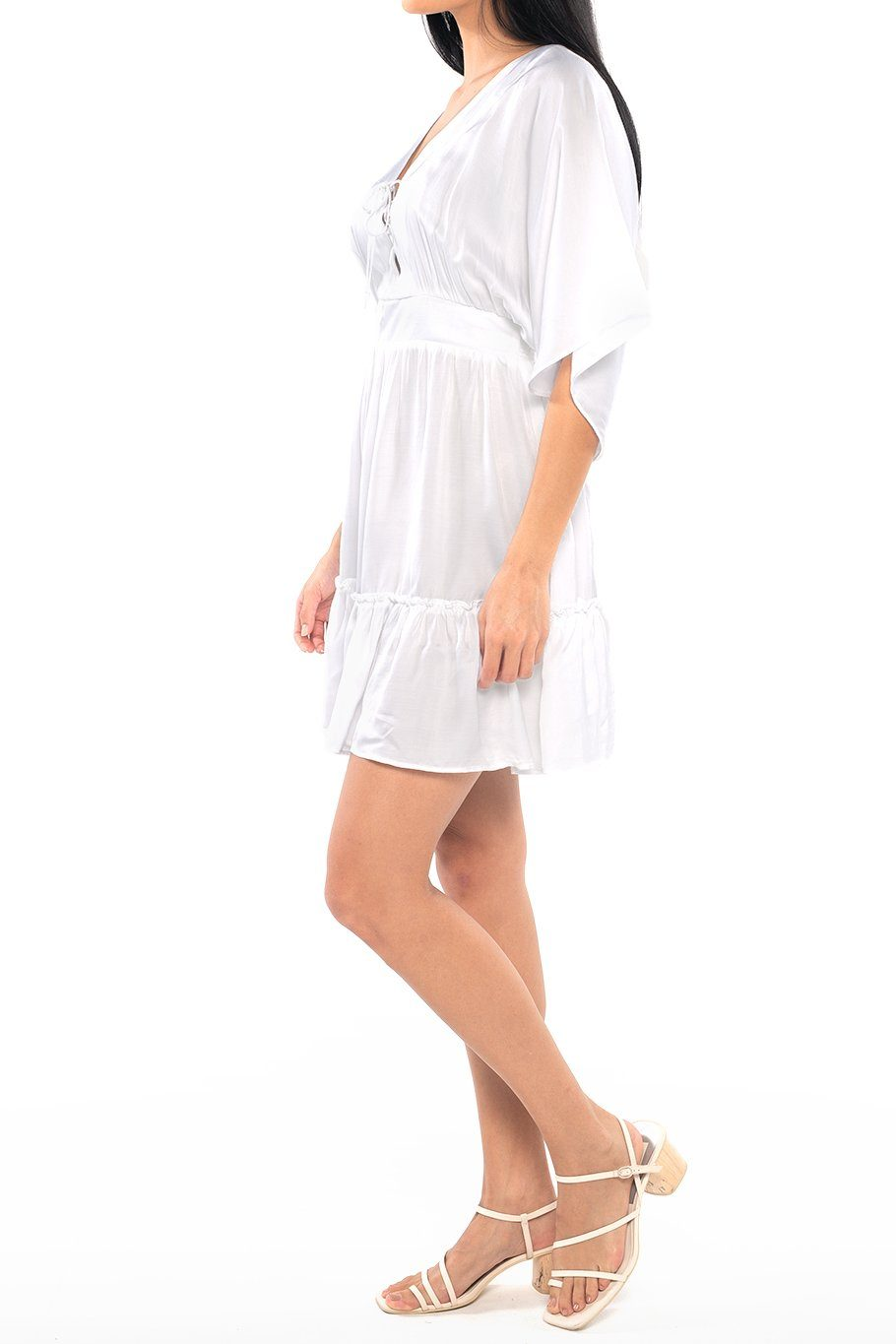 Lisbon Layered Mini Dress - Satin White - Shore