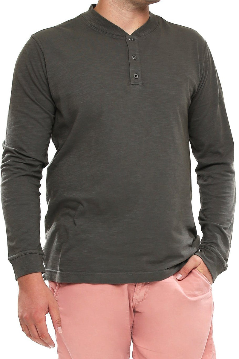 Long Sleeve Slub Henley - Castlerock - Shore