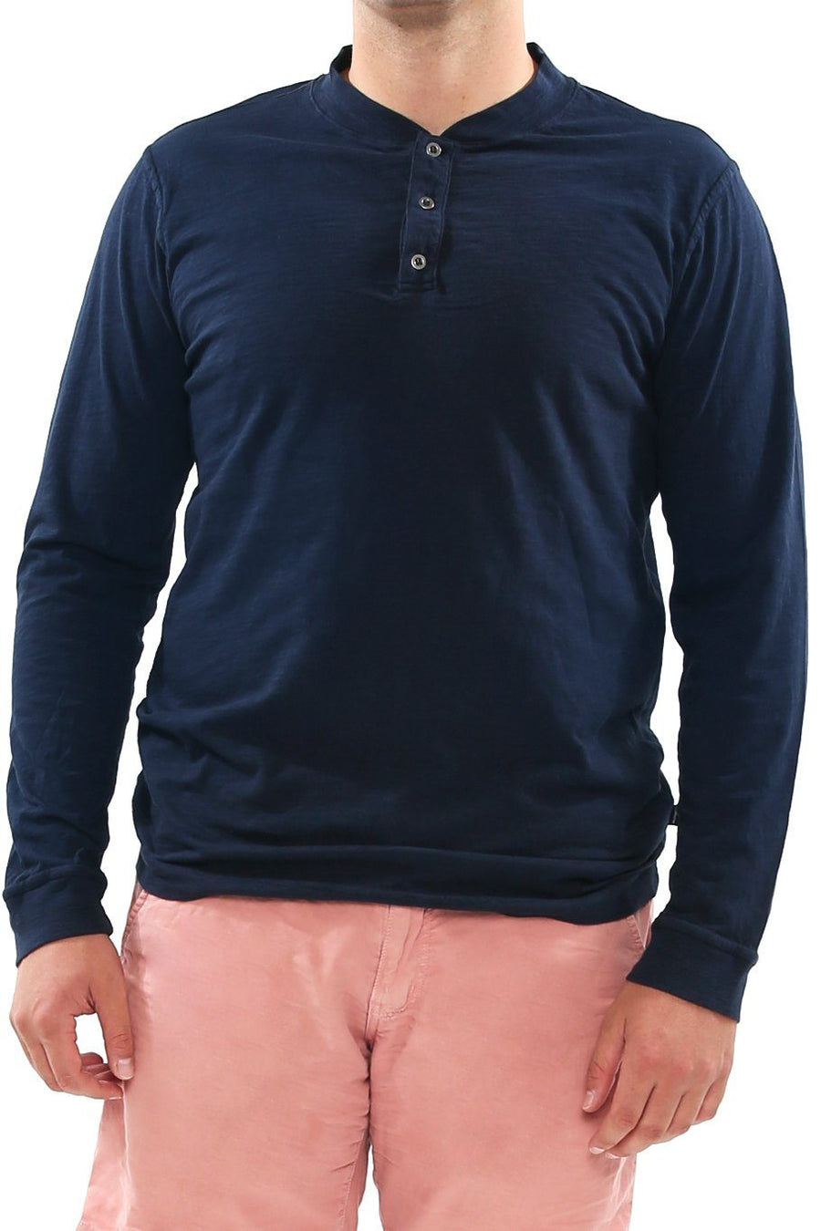 Long Sleeve Slub Henley - Eclipse - Shore