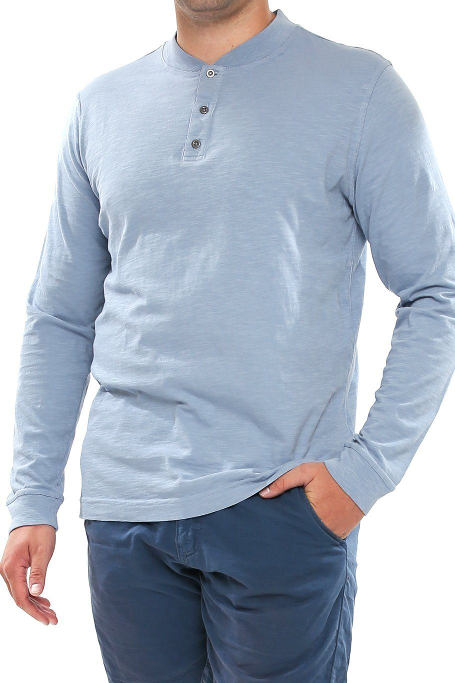 Long Sleeve Slub Henley - Stone Blue - Shore