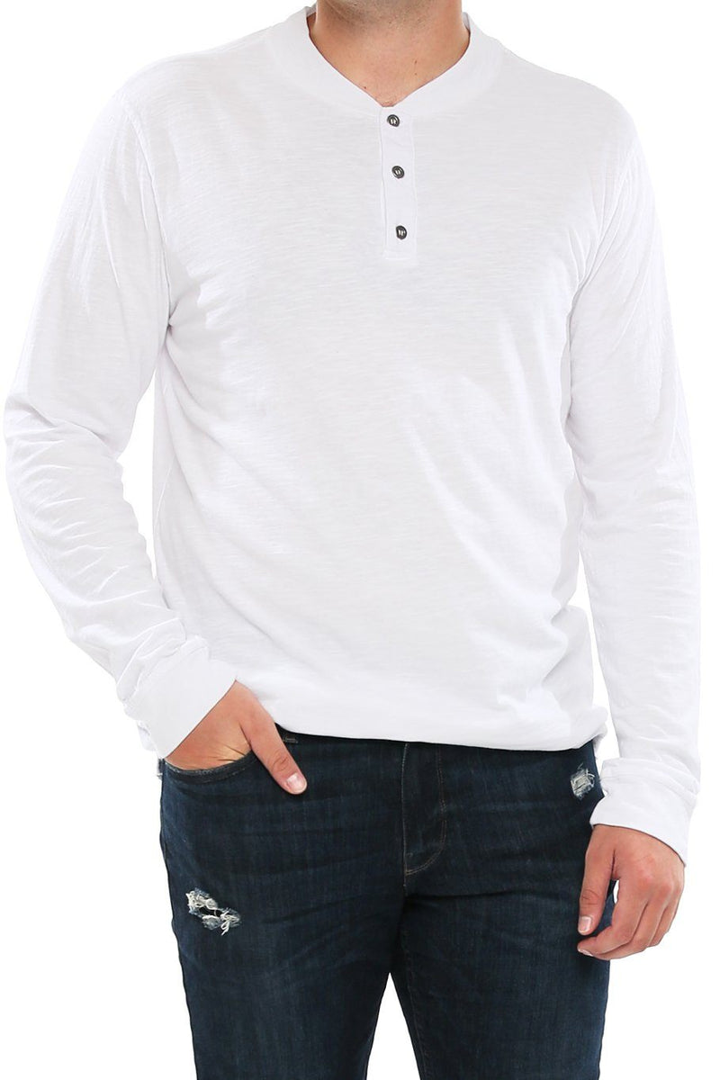 Long Sleeve Slub Henley - White - Shore