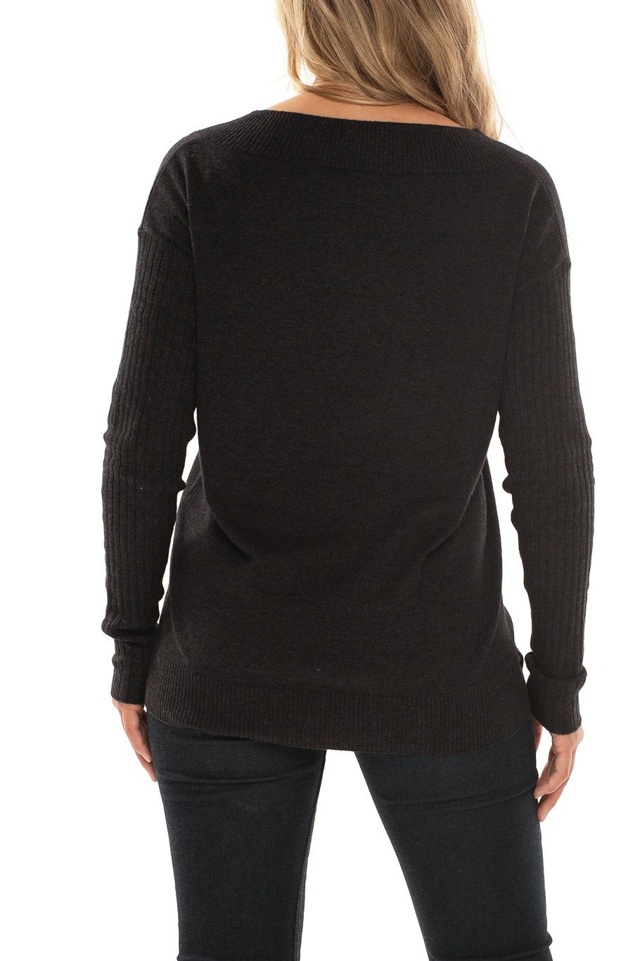 Telluride V-Neck Classic Sweater - Charcoal - Shore