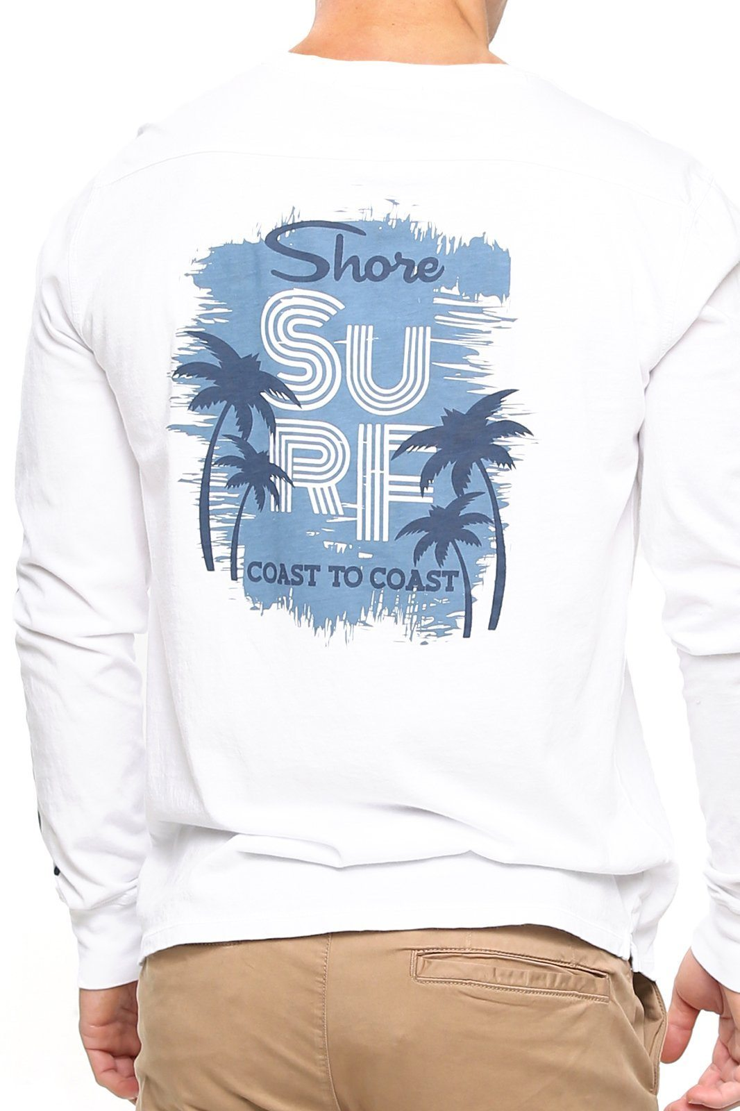 Shore Surf Long Sleeve Tee - White - Shore