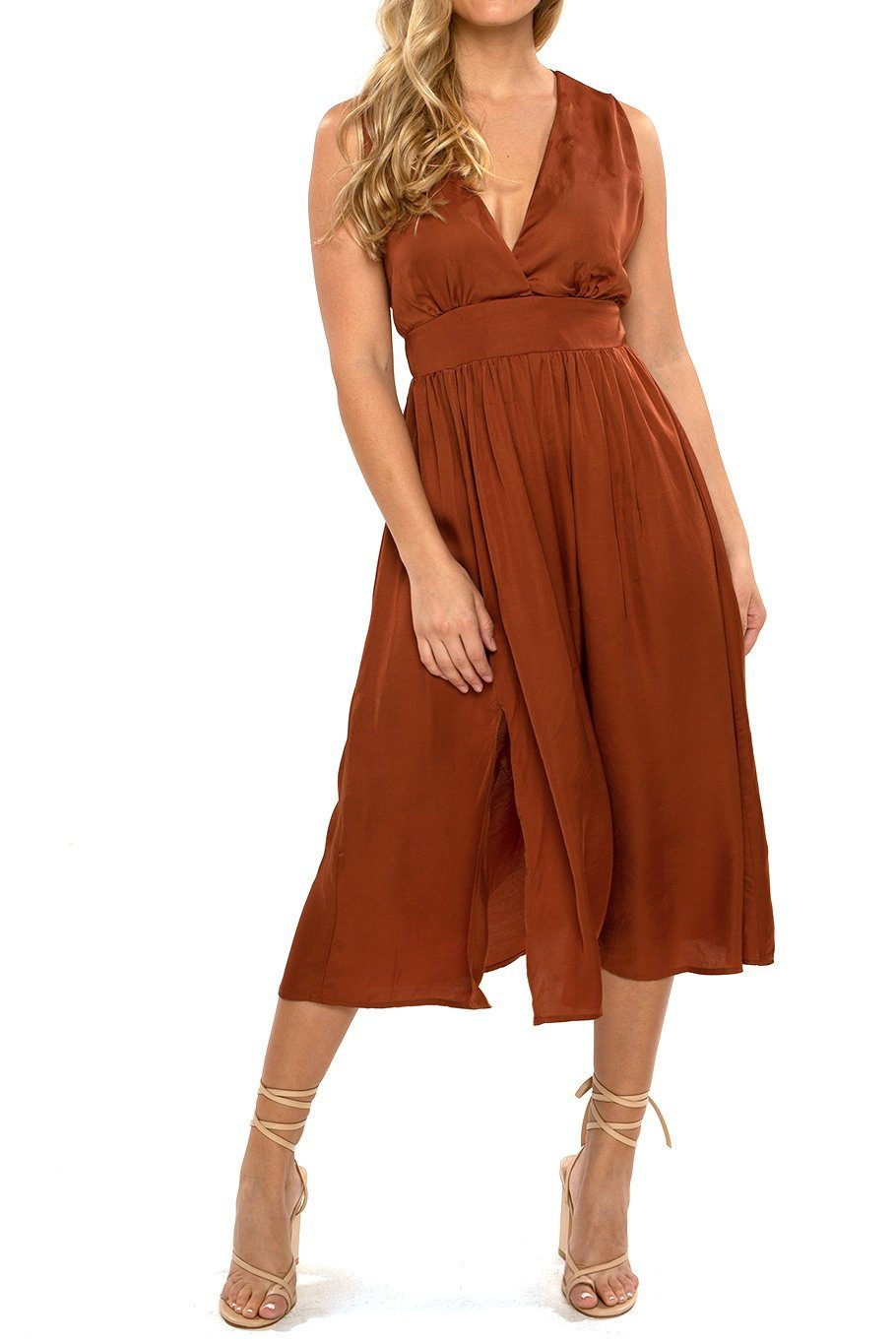 Magnolia Midi Dress - Satin Rust