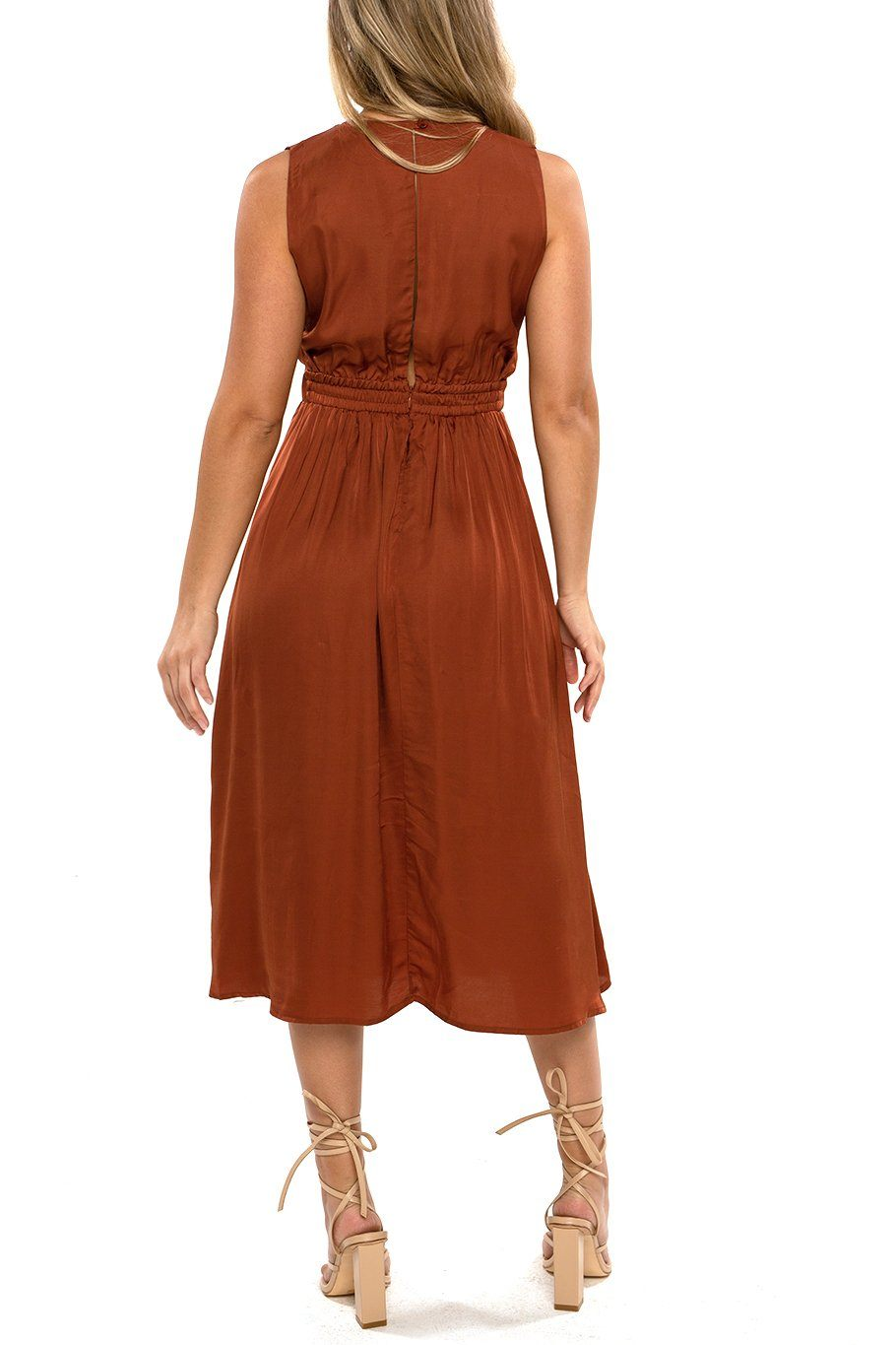 Magnolia Midi Dress - Satin Rust - Shore