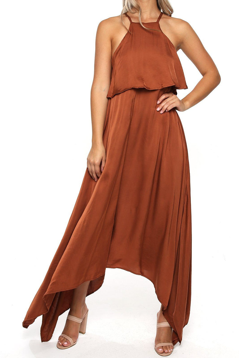 Maui Satin Dress - Rust - Shore
