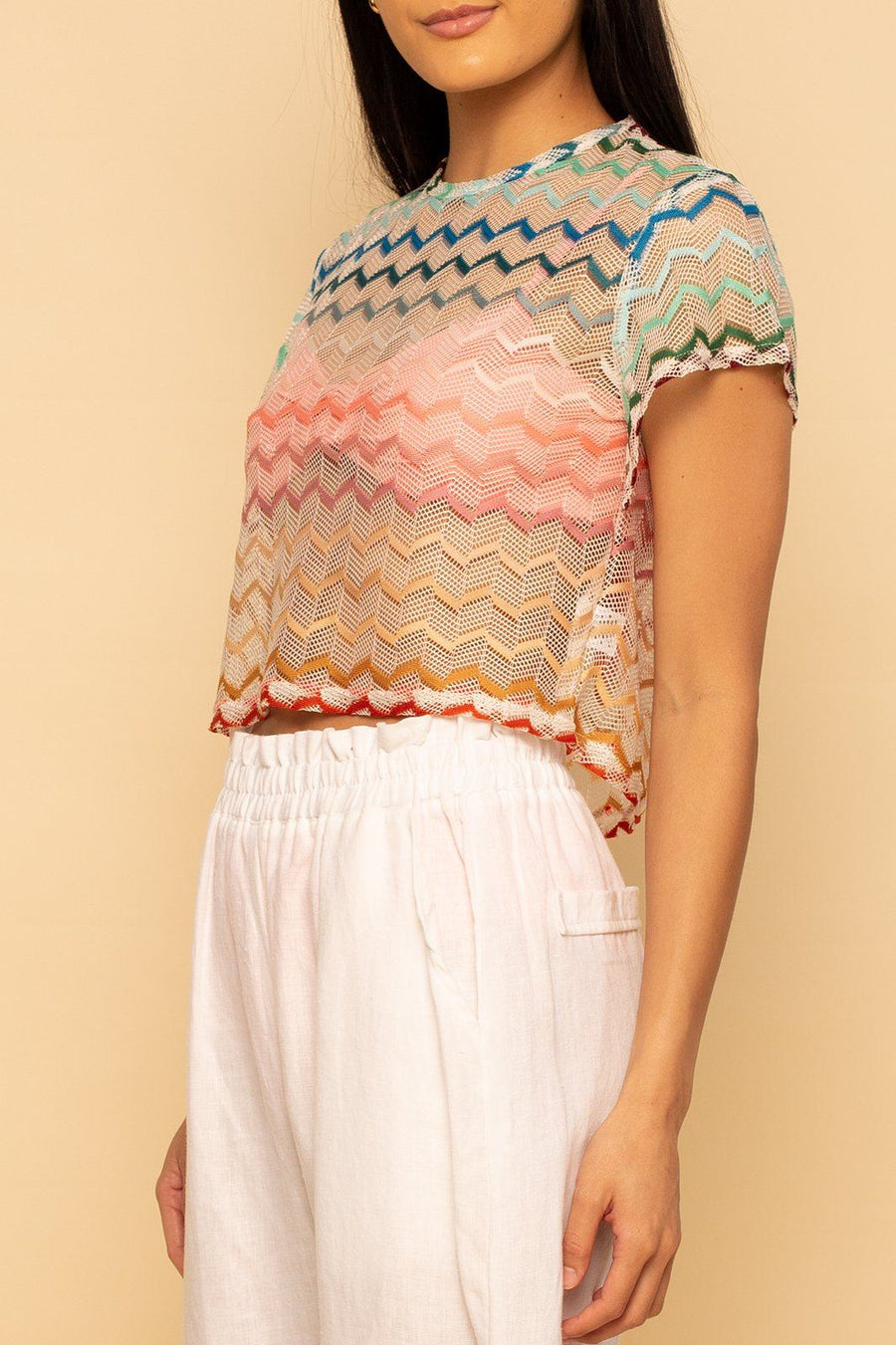 Capri Lace Top - Rainbow - Shore