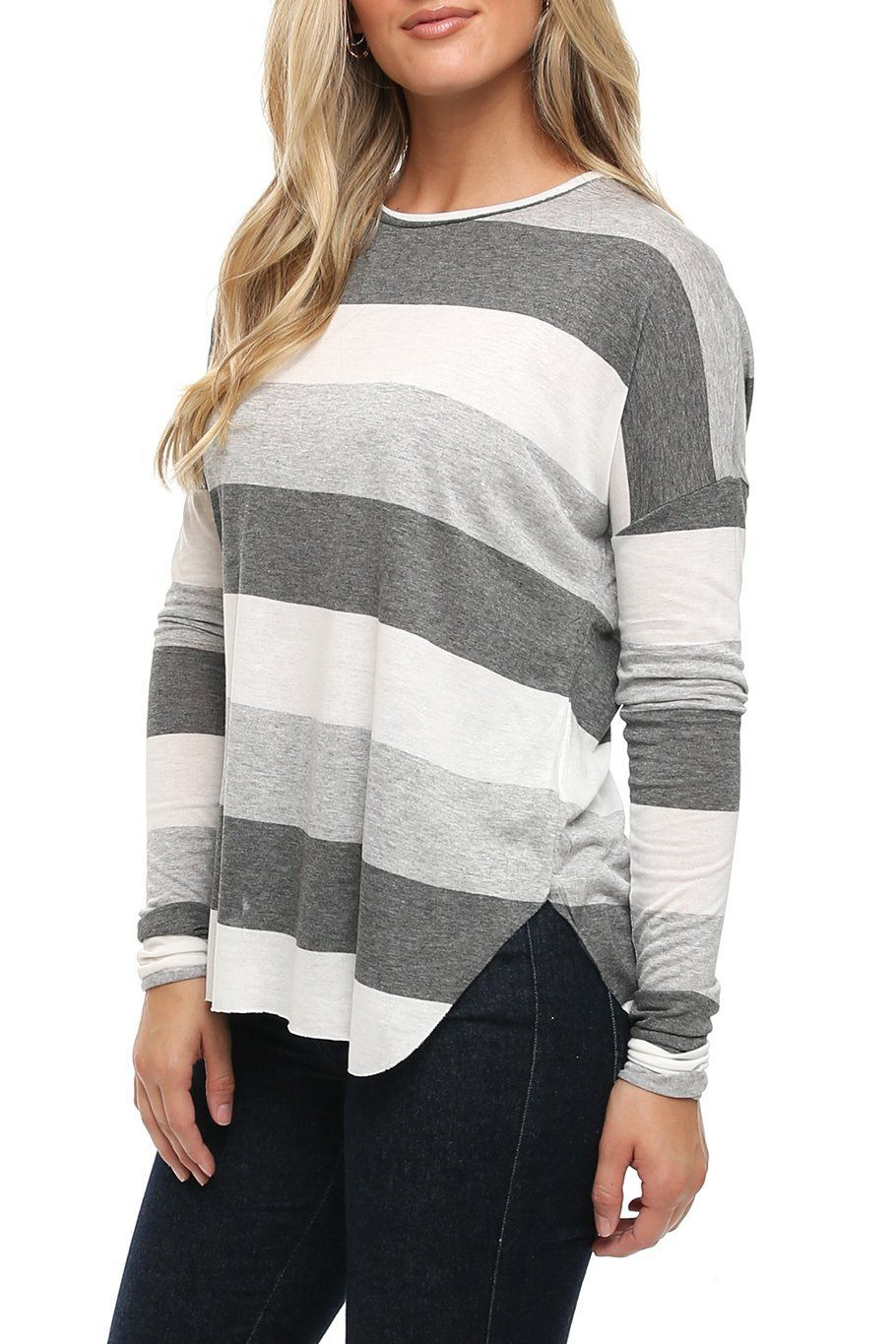 All Day Dolman Tee - Grey Stripe - Shore