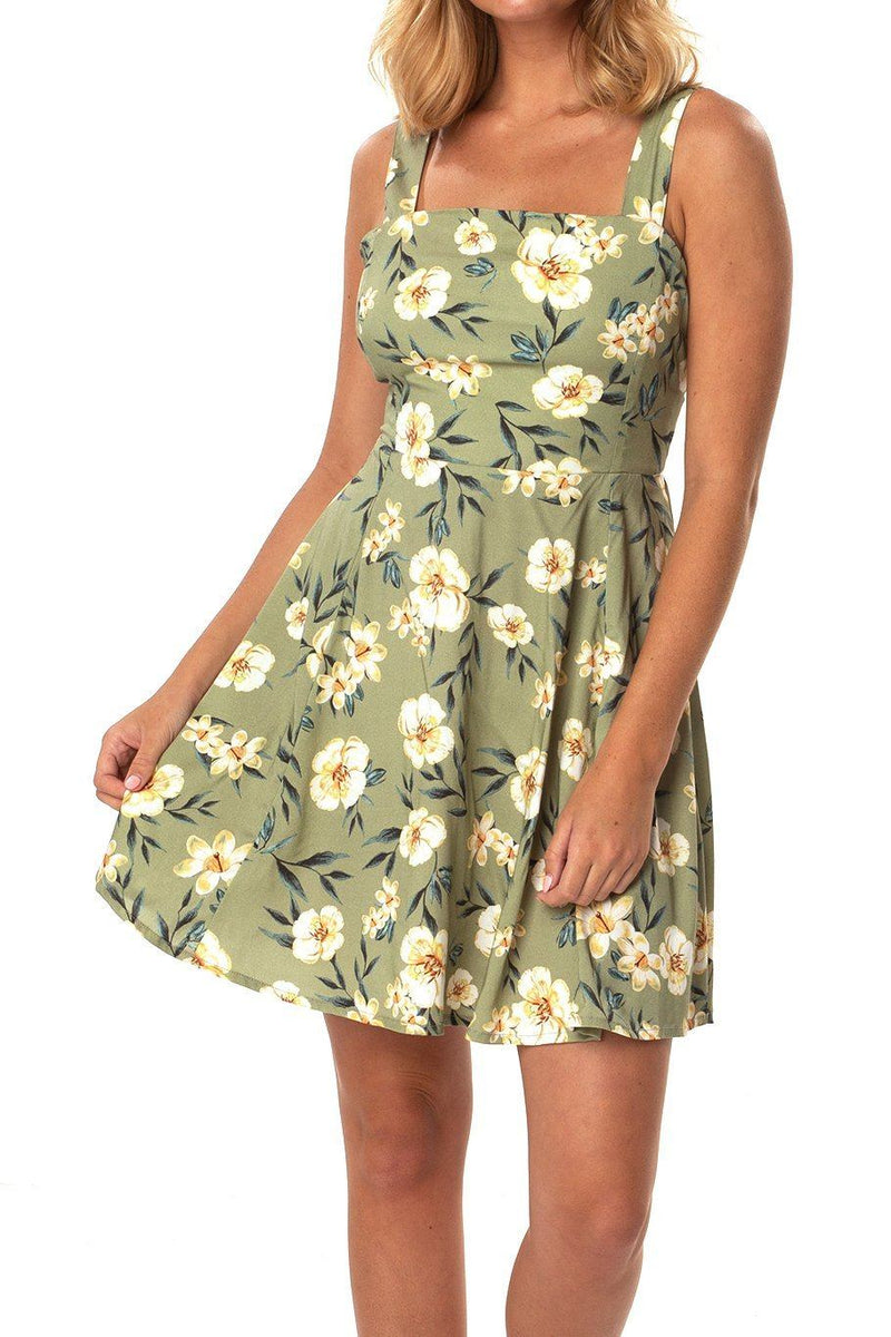 Tie Back Mini Dress - Green Floral - Shore