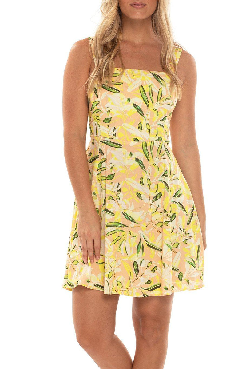 Tie Back Mini Dress - Neon Floral - Shore
