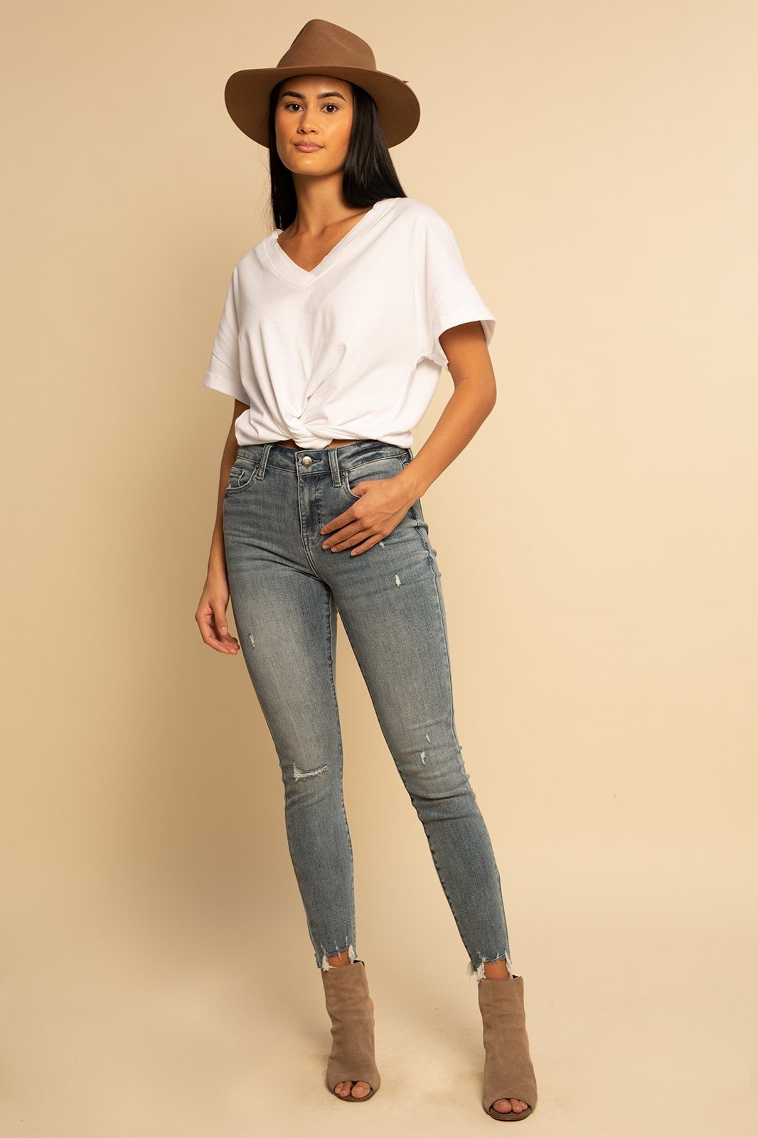 Drop Shoulder V-Neck Top - White - Shore