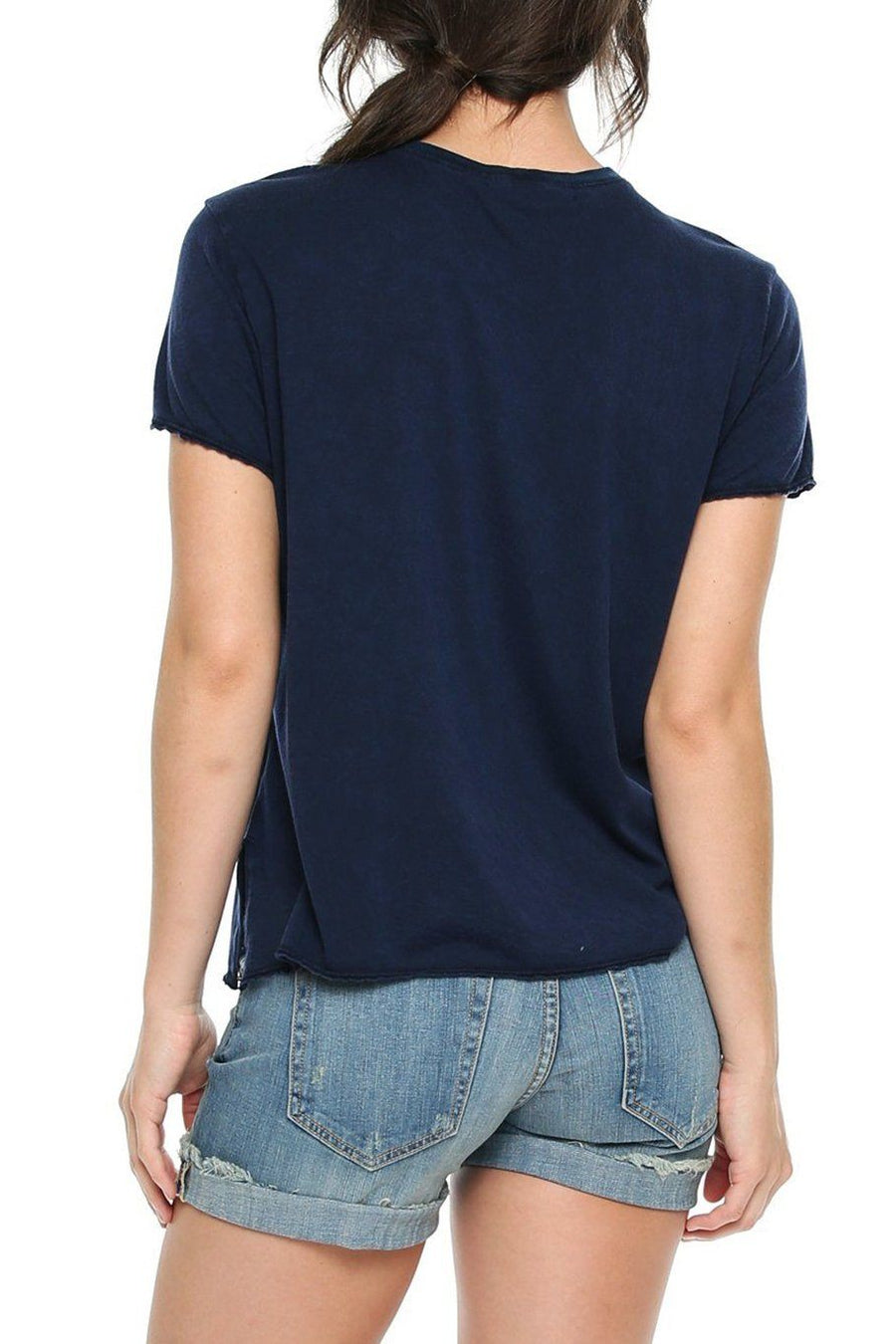 High Neck V-Tee - Navy - Shore