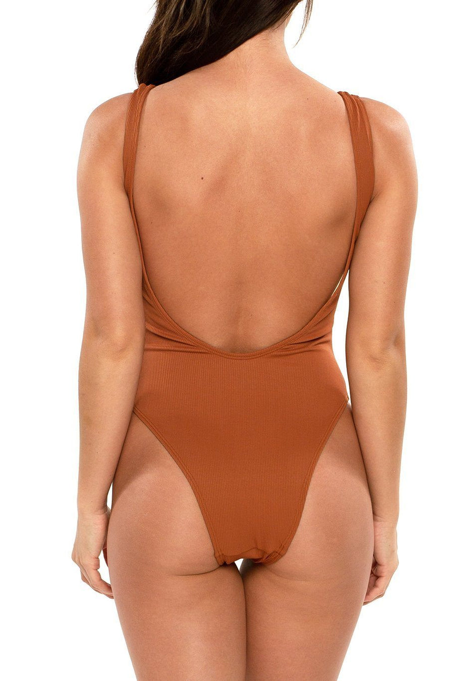 Bermuda Button One Piece - Rust Ribbed - Shore