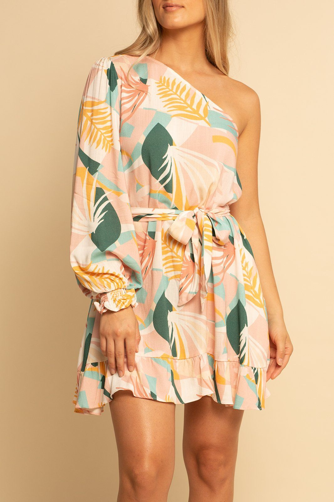 One Shoulder Dress - Palm Beach - Shore