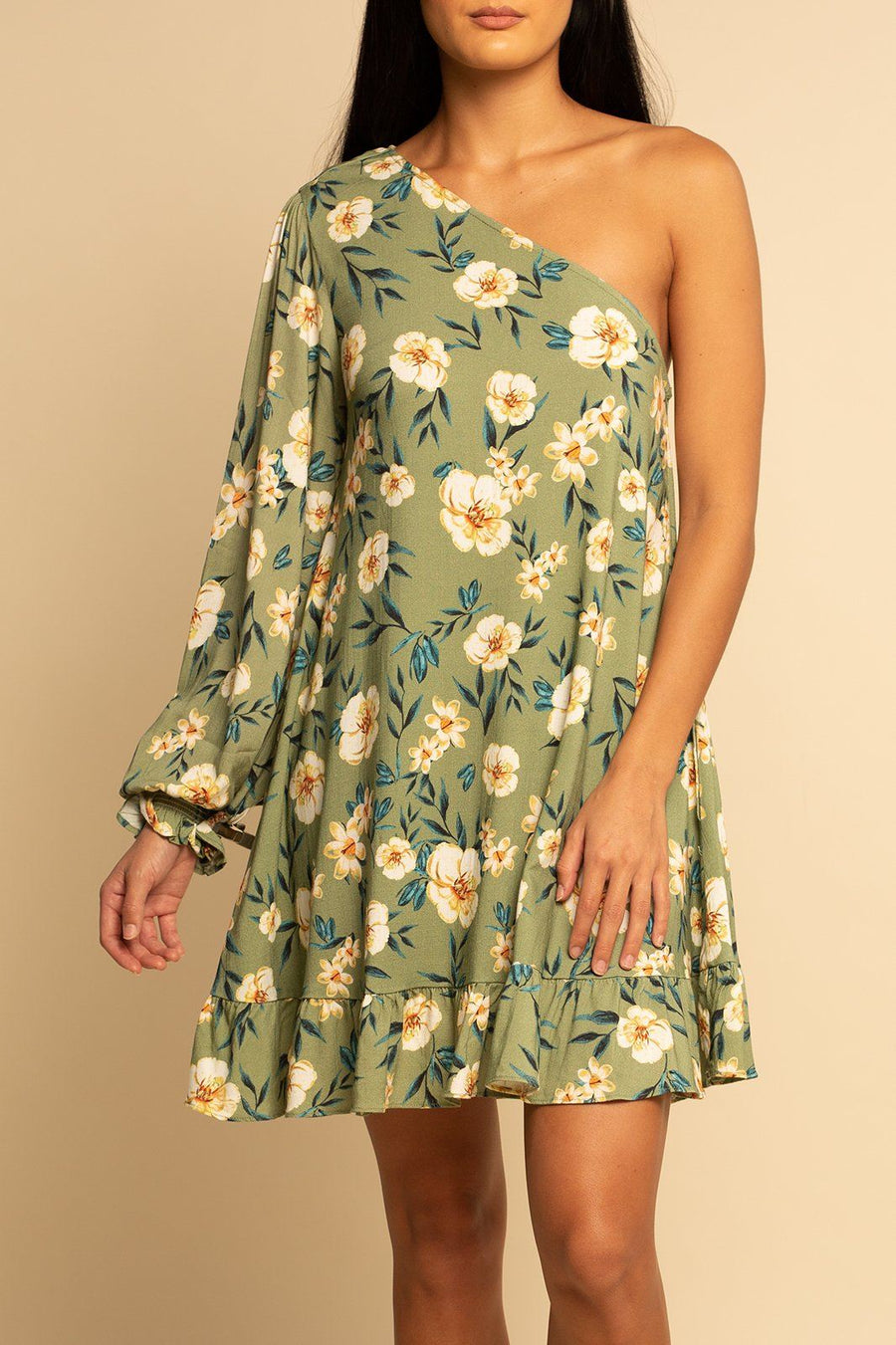 One Shoulder Dress - Green Floral - Shore