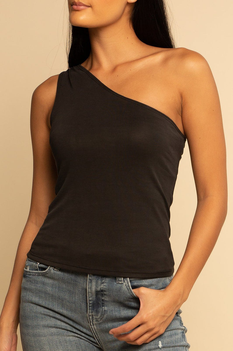 One Shoulder Tank - Charcoal - Shore