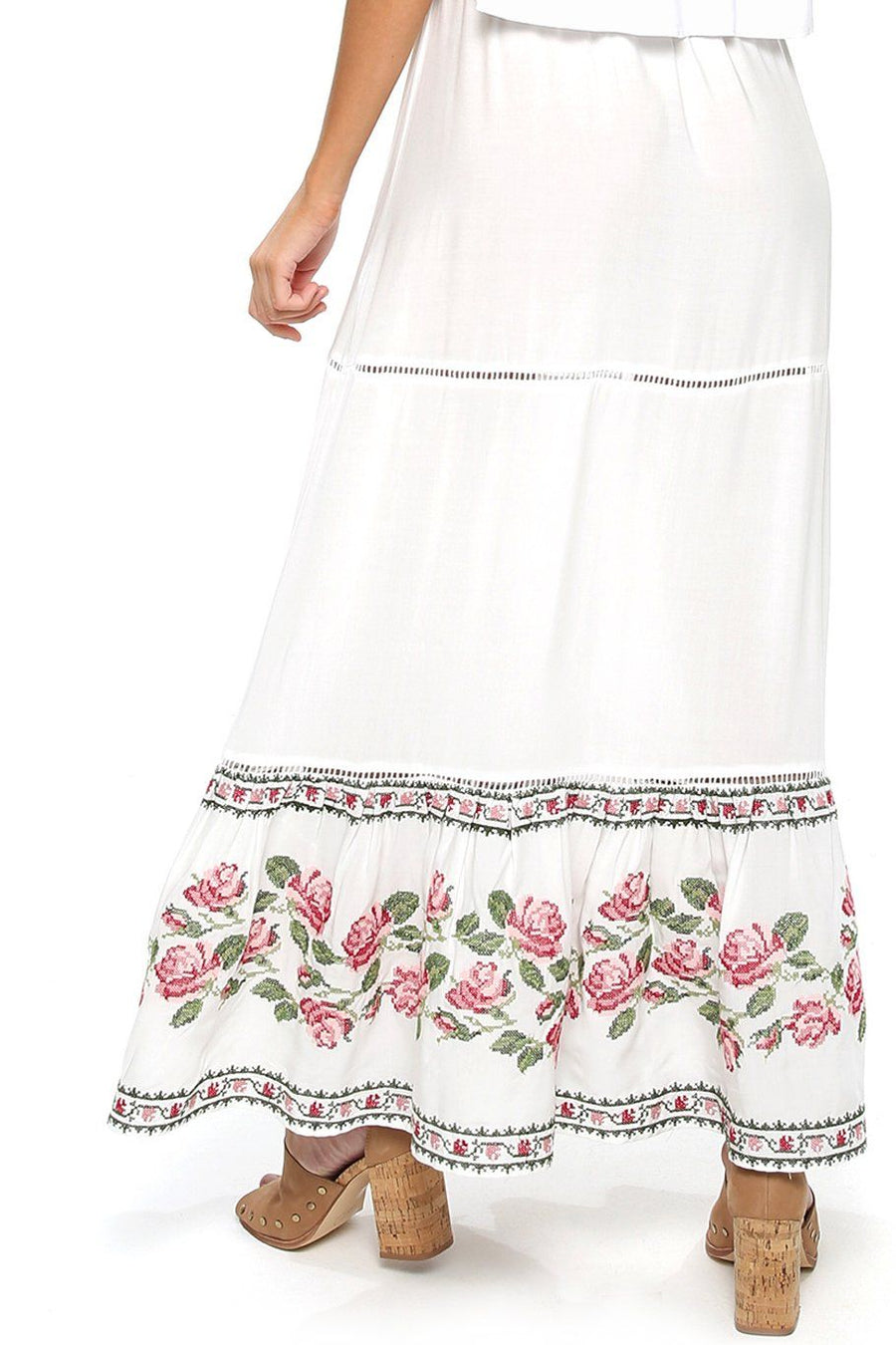 Opal Smocking Maxi Skirt - Rose Garden - Shore