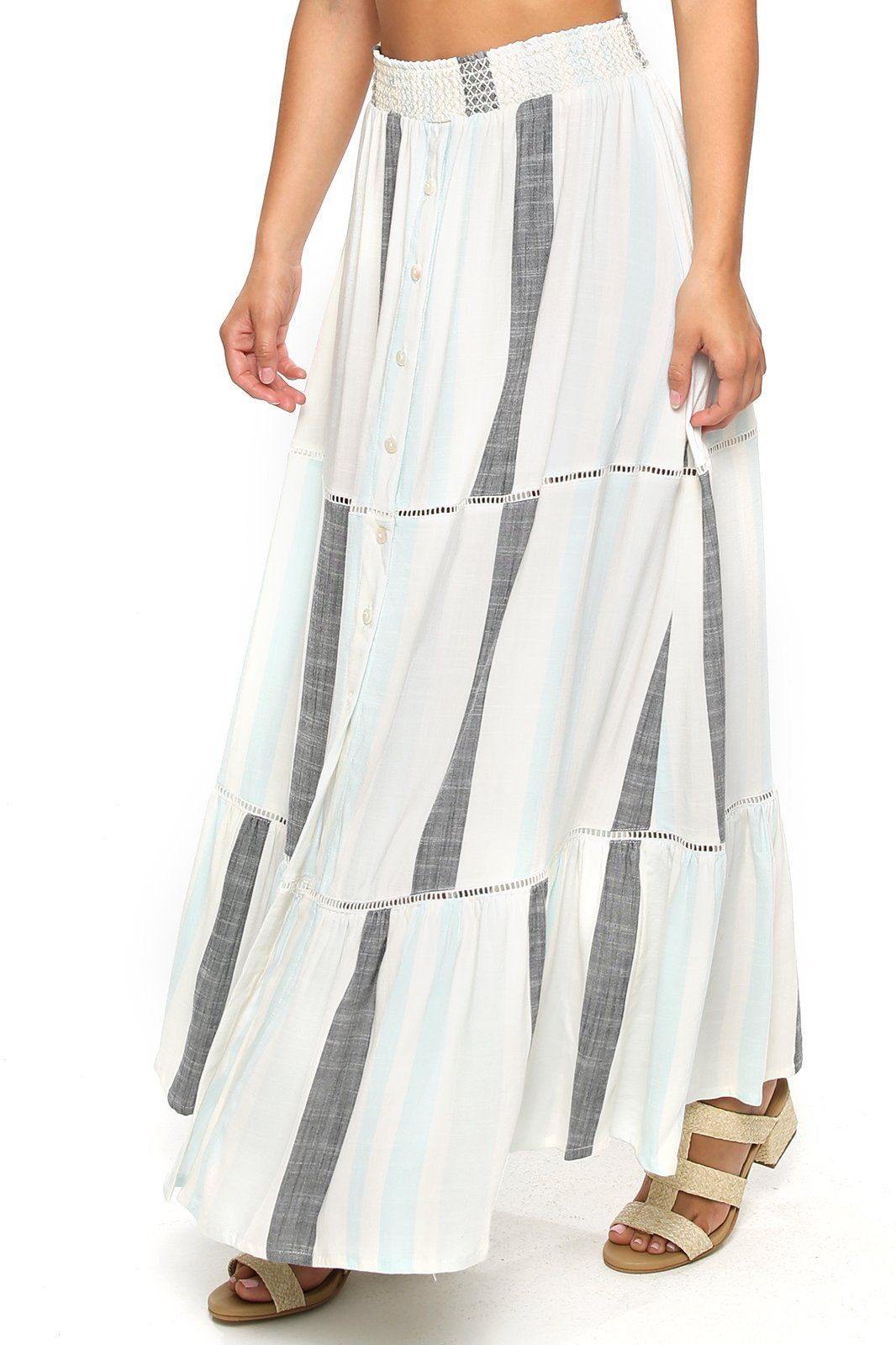 Opal Smocking Maxi Skirt - Hampton Stripe