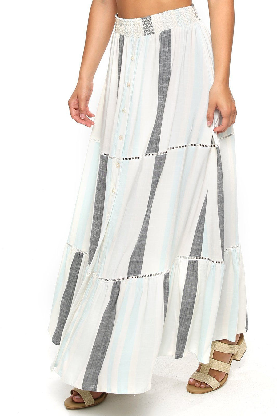 Opal Smocking Maxi Skirt - Hampton Stripe - Shore