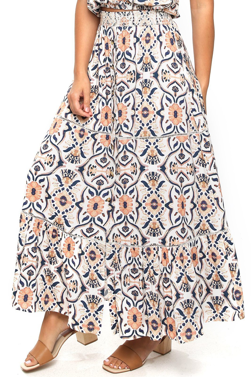 Opal Smocking Maxi Skirt - Moroccan Sunset - Shore