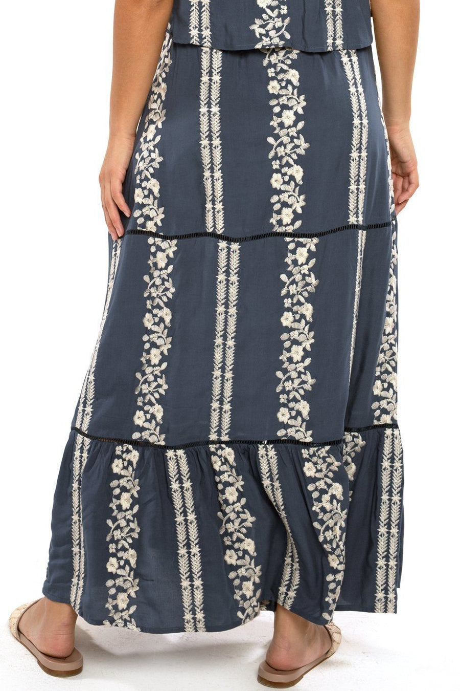 Opal Smocking Maxi Skirt - Mirage Embroidered - Shore