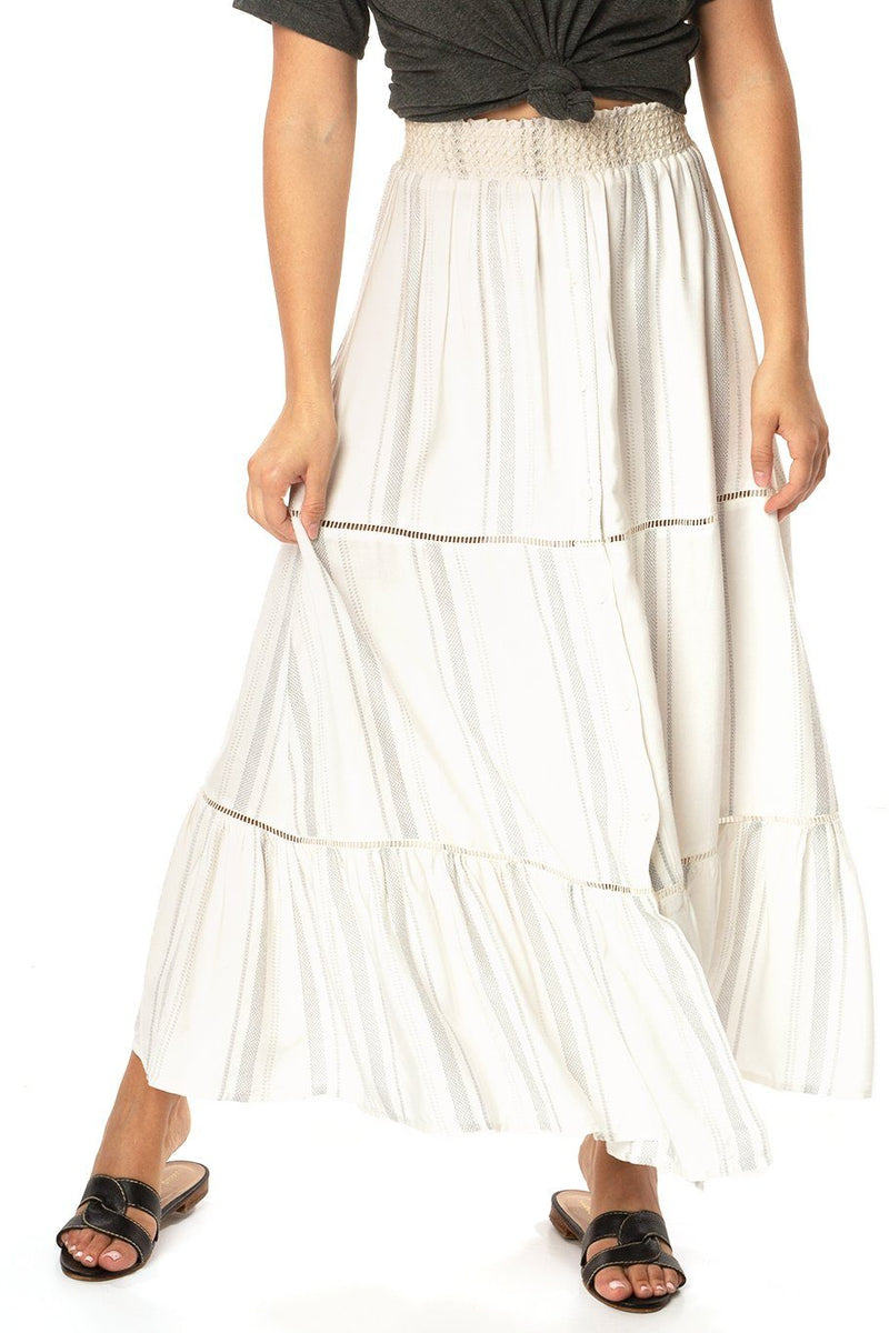 Opal Smocking Maxi Skirt - Siesta Stripe - Shore