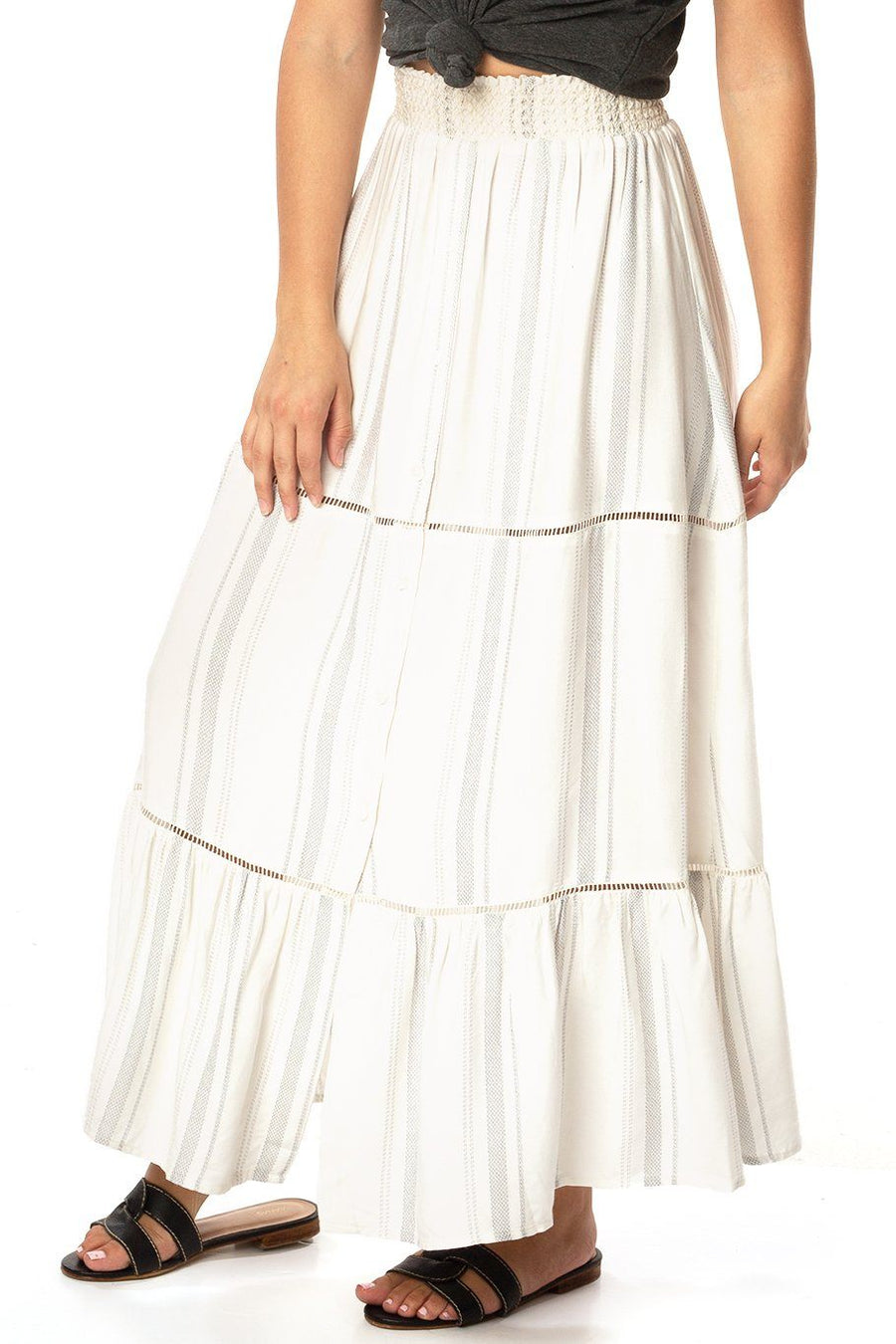 Opal Smocking Maxi Skirt - Siesta Stripe