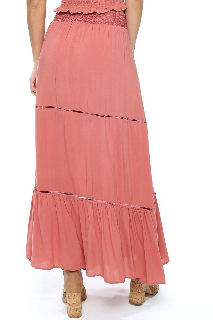 Opal Smocking Maxi Skirt - Papaya - Shore