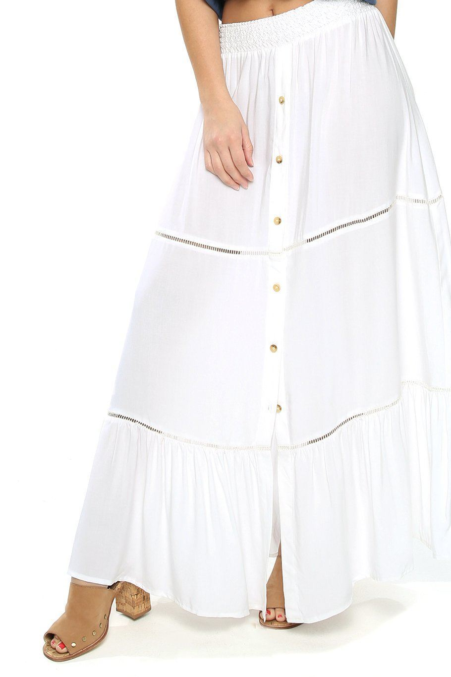 Opal Smocking Maxi Skirt - White - Shore