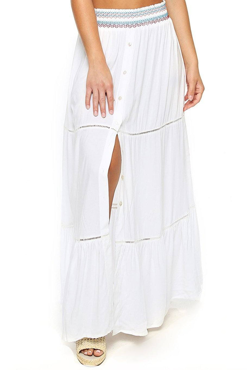 Opal Smocking Maxi Skirt - White Multi - Shore