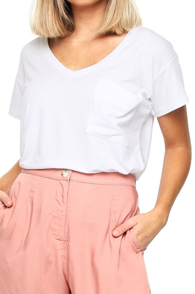 Women's Pocket Tee - White - Shore