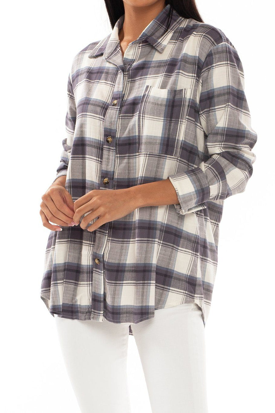 Button Up Tunic - Sky Plaid - Shore
