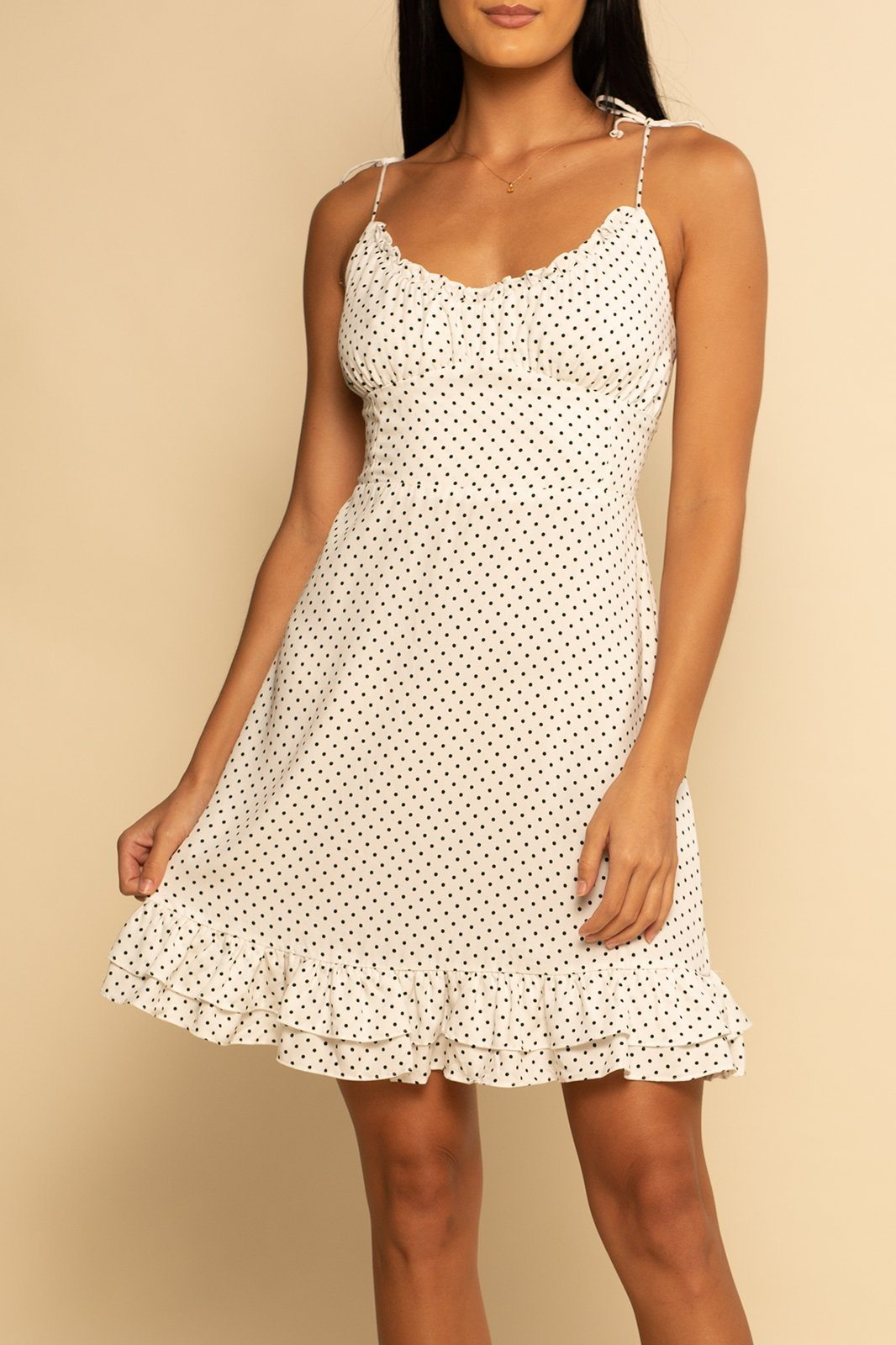 Sicily Tie Shoulder Dress - Polka Dot - Shore