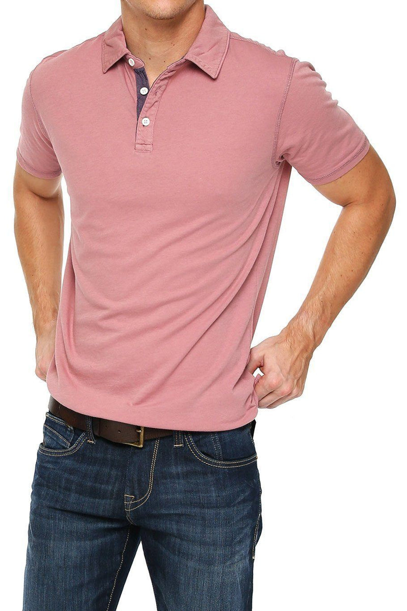 Short Sleeve Button Polo - Old Rose - Shore