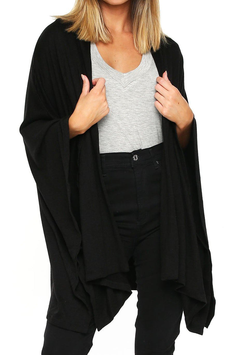 Poncho Sweater - Black - Shore