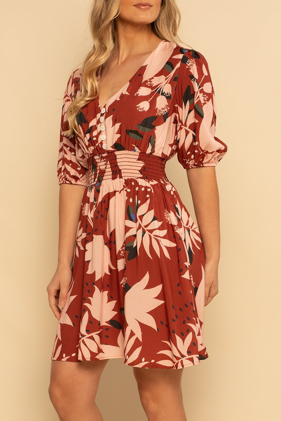 Laguna Button Dress - Red Floral - Shore