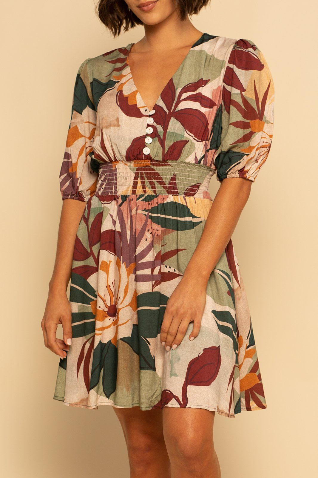 Laguna Button Dress - Fall Floral - Shore
