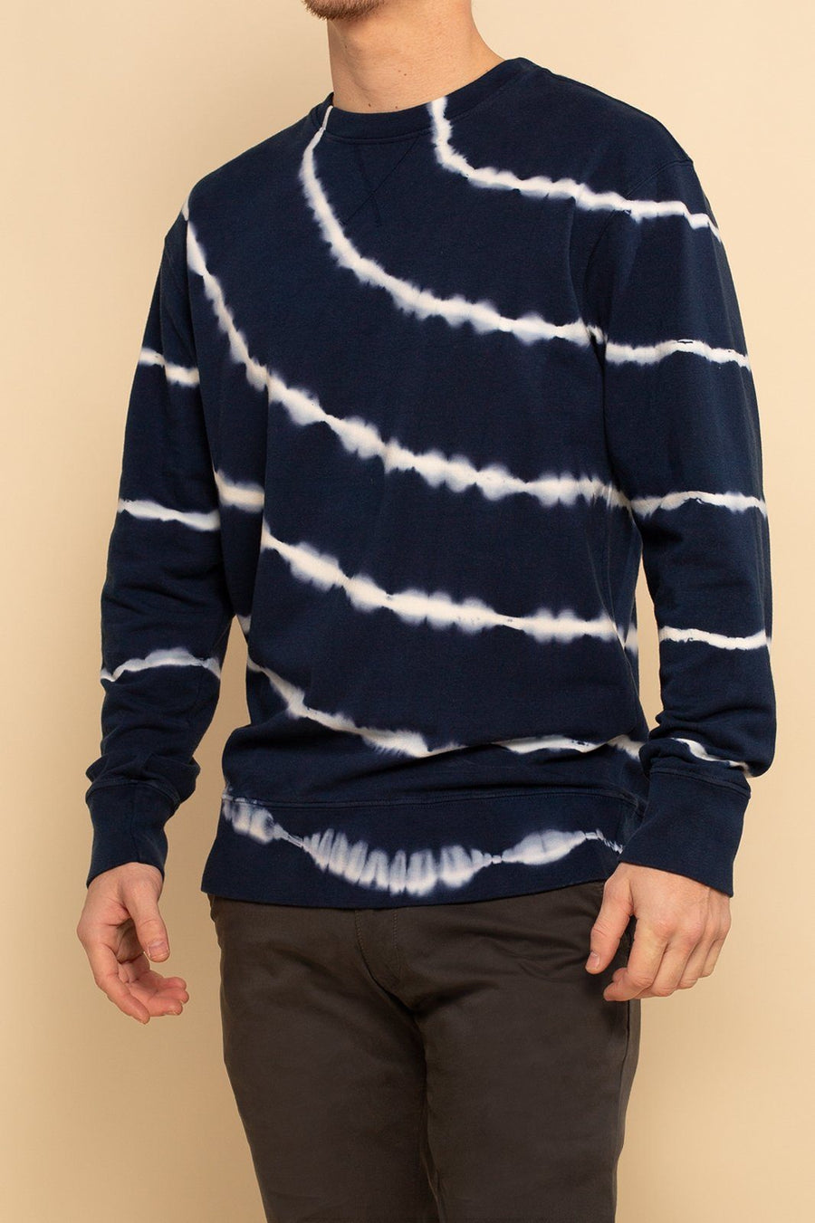 Tie Dye Long Sleeve Crew Pullover - Navy Stripe - Shore