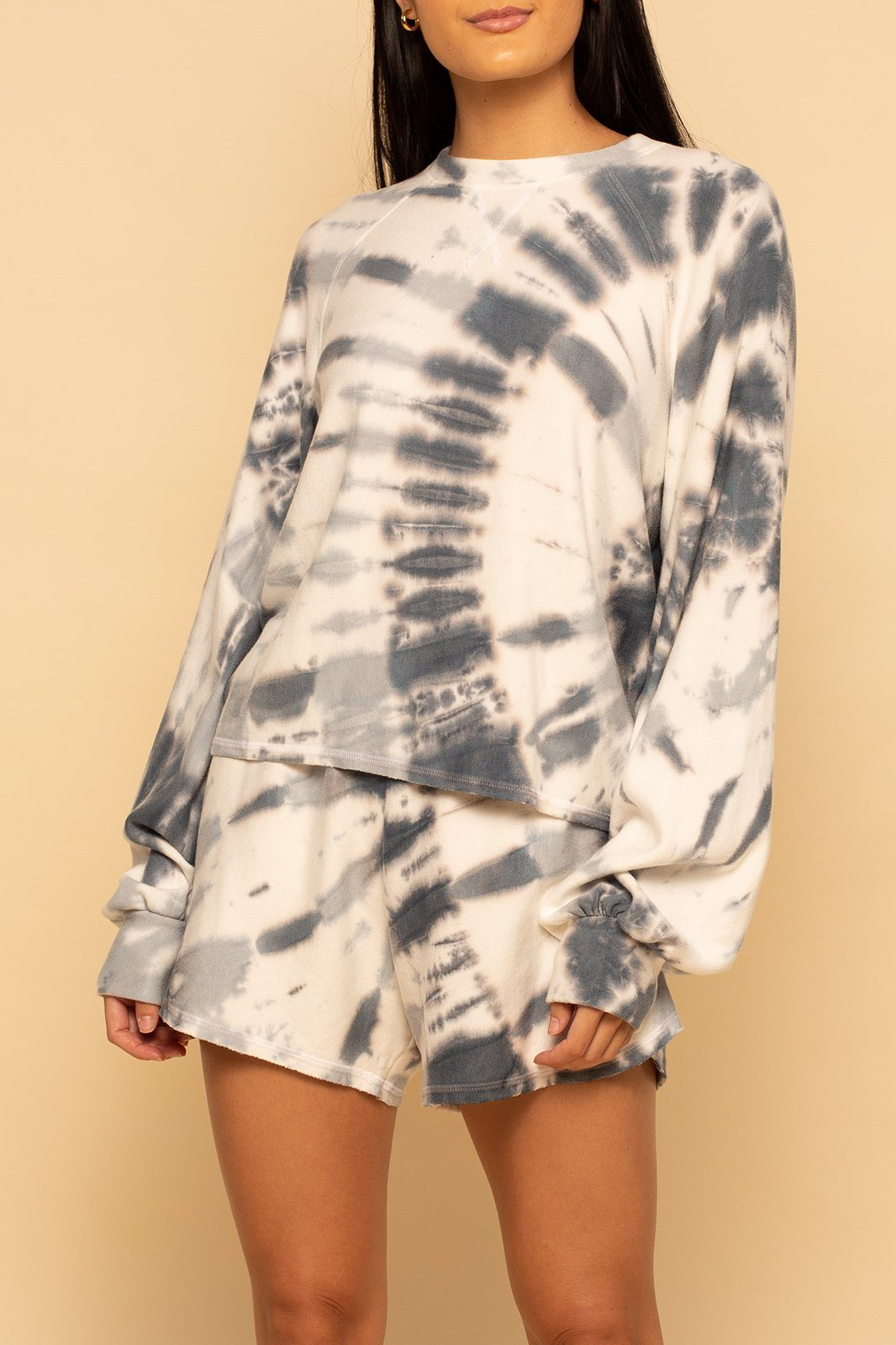 Tie Dye Exaggerated Sleeve Pullover - Grey Swirl - Shore