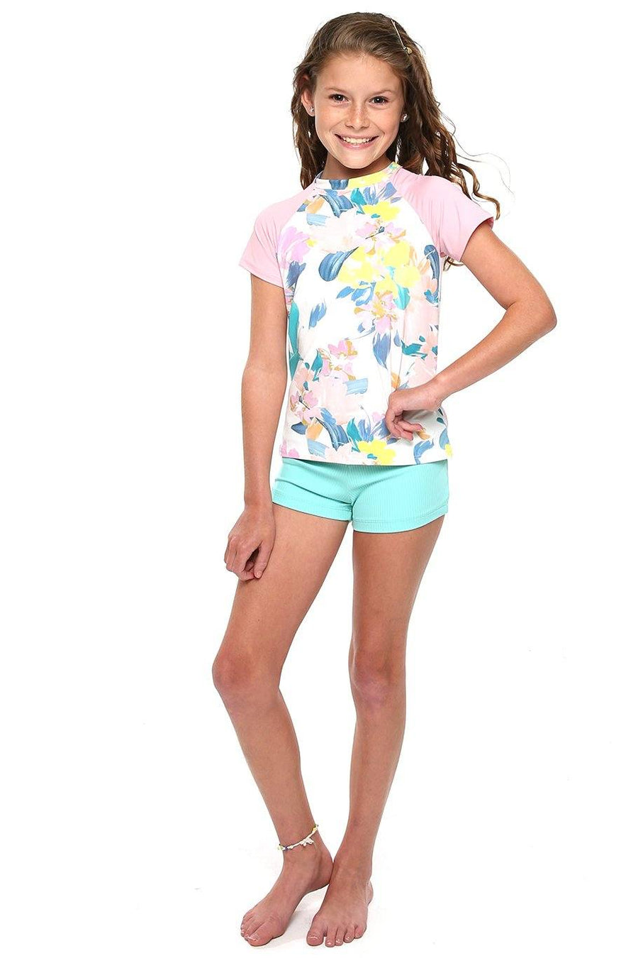 Girls Short Sleeve Rash Guard - Spring Floral - Shore