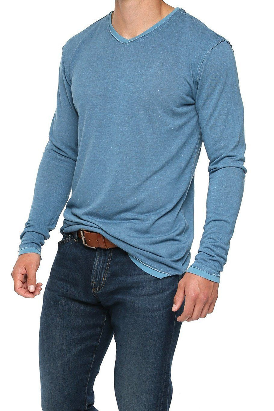 Raw Edge Long Sleeve V-Neck Shirt - Faded Denim - Shore
