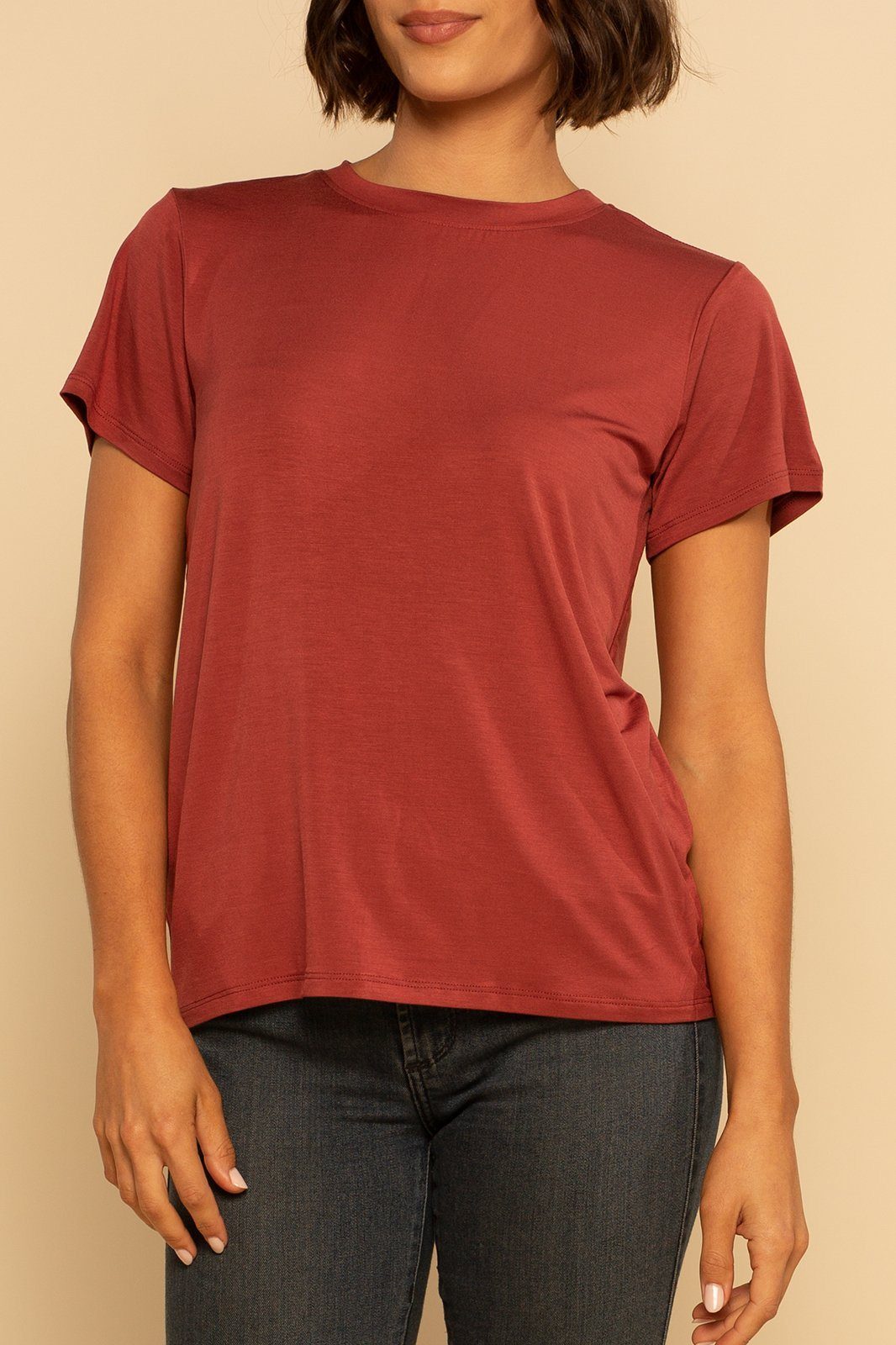 Solid Back Seam Tee - Marsala - Shore