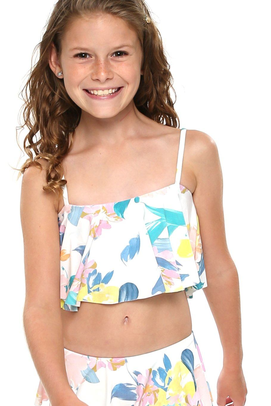 Girls Ruffle Top- Spring Floral - Shore