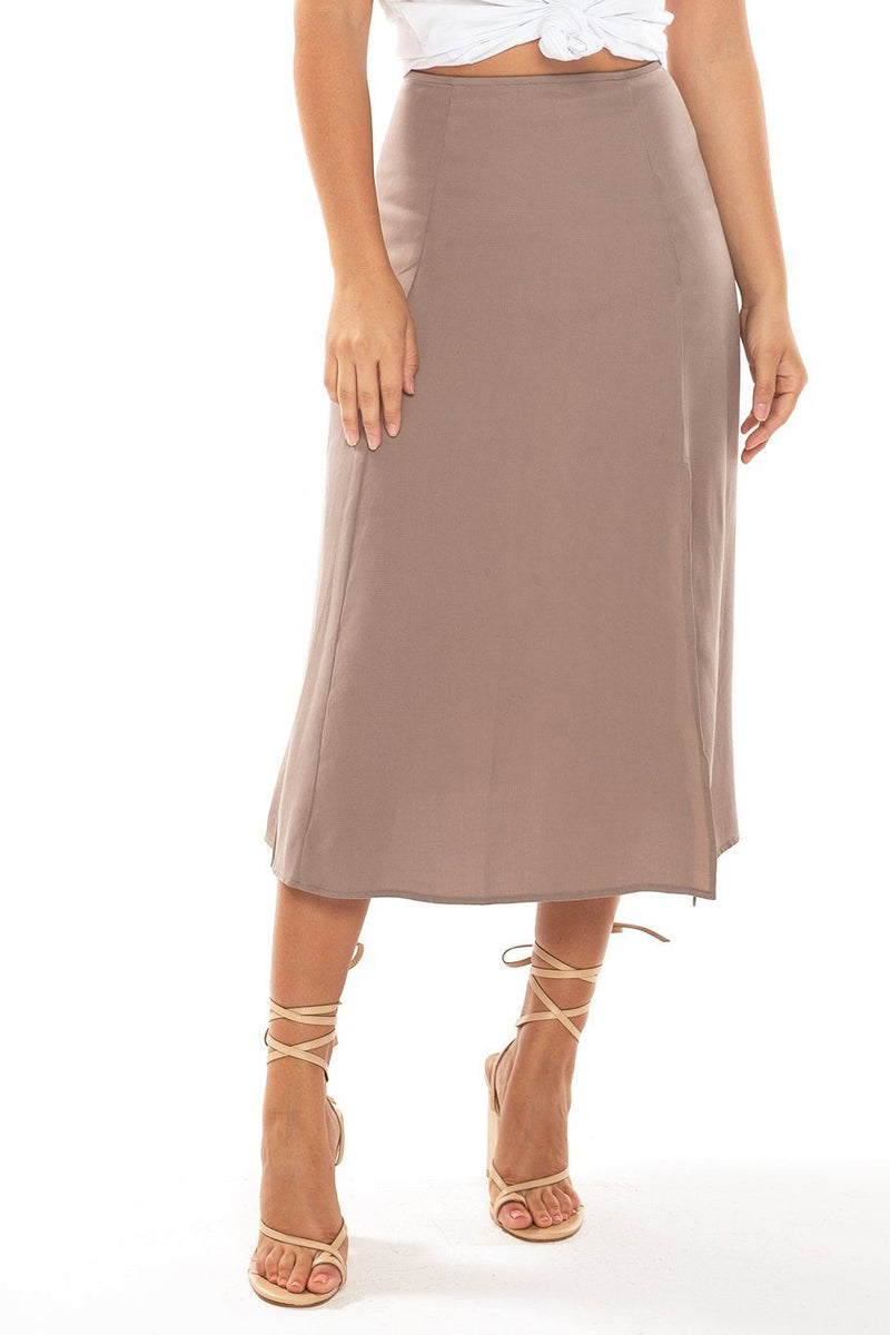 Sienna Slit Side Midi Skirt - Oat - Shore