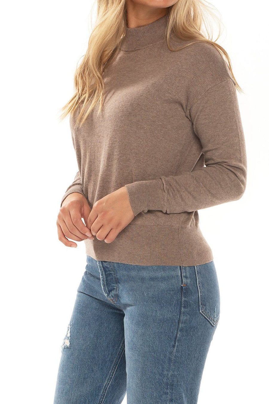 Whistler High Neck Sweater - Tan - Shore