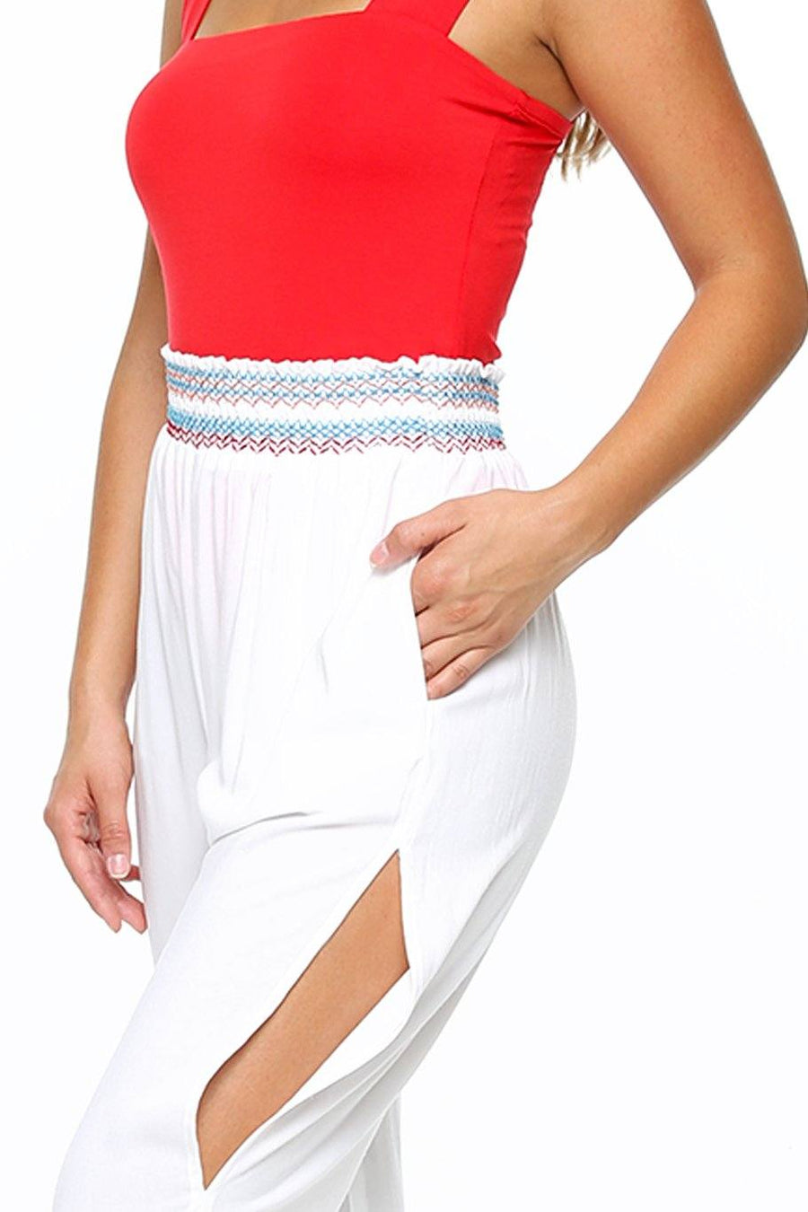 San Juan Split Leg Pant - White Multi - Shore