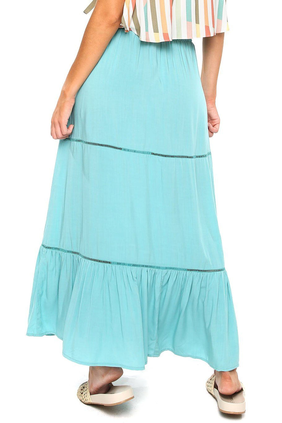 Opal Smocking Maxi Skirt - Seaglass - Shore
