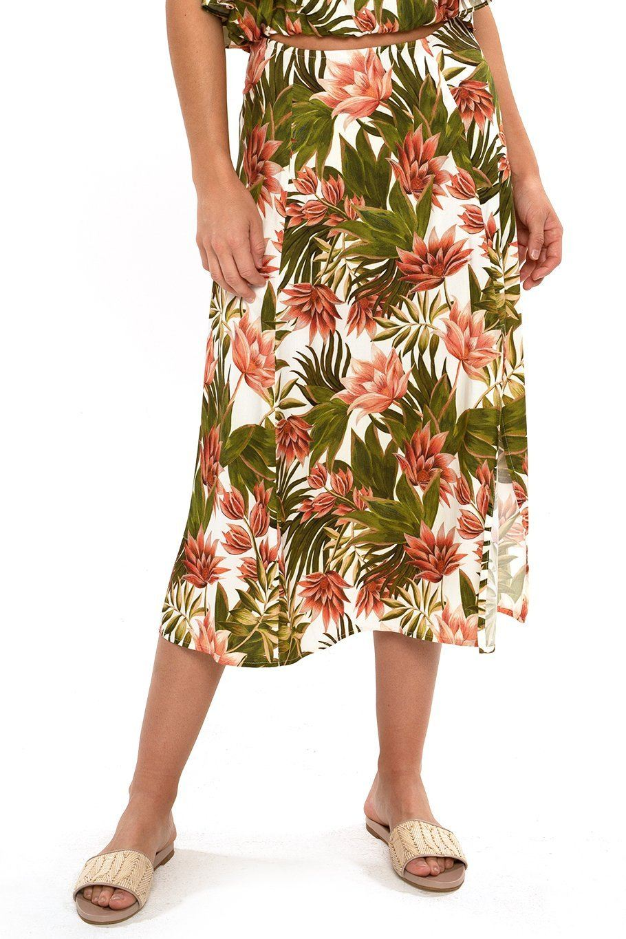 Sienna Slit Side Midi Skirt - Tropical - Shore