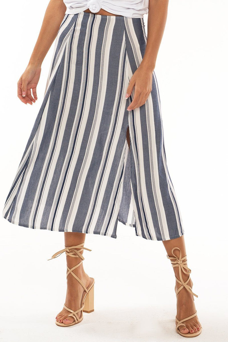 Sienna Slit Side Midi Skirt - Sue's Stripe - Shore