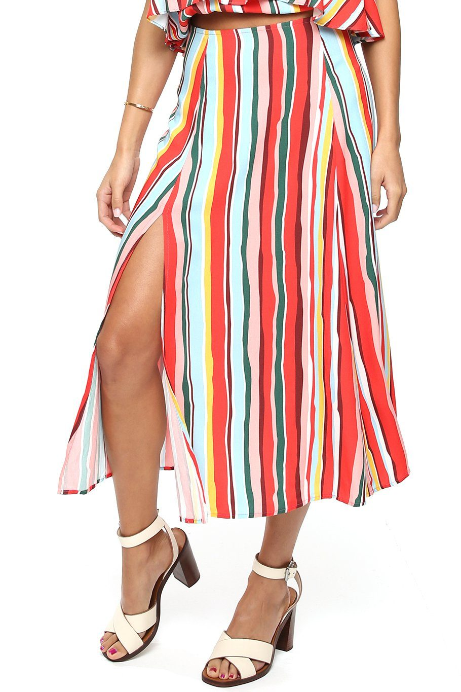 Sienna Slit Side Midi Skirt - Vibrant Stripe - Shore